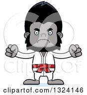 Clipart Of A Cartoon Mad Karate Gorilla Royalty Free Vector Illustration