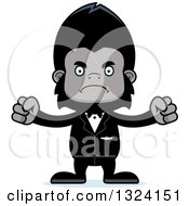 Clipart Of A Cartoon Mad Gorilla Groom Royalty Free Vector Illustration