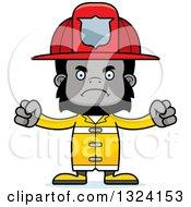 Clipart Of A Cartoon Mad Gorilla Firefighter Royalty Free Vector Illustration