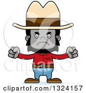 Clipart Of A Cartoon Mad Gorilla Cowboy Royalty Free Vector Illustration