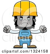 Cartoon Mad Gorilla Construction Worker