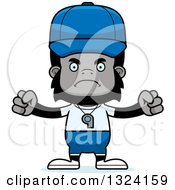 Clipart Of A Cartoon Mad Gorilla Sports Coach Royalty Free Vector Illustration