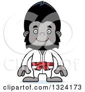 Clipart Of A Cartoon Happy Karate Gorilla Royalty Free Vector Illustration