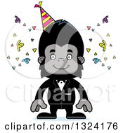 Clipart Of A Cartoon Happy Party Gorilla Royalty Free Vector Illustration by Cory Thoman