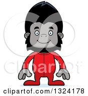 Clipart Of A Cartoon Happy Gorilla In Pjs Royalty Free Vector Illustration by Cory Thoman