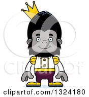 Clipart Of A Cartoon Happy Gorilla Prince Royalty Free Vector Illustration by Cory Thoman
