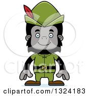 Clipart Of A Cartoon Happy Gorilla Robin Hood Royalty Free Vector Illustration by Cory Thoman