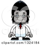 Clipart Of A Cartoon Happy Gorilla Scientist Royalty Free Vector Illustration by Cory Thoman