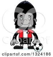 Clipart Of A Cartoon Happy Gorilla Soccer Player Royalty Free Vector Illustration by Cory Thoman