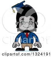 Clipart Of A Cartoon Happy Gorilla Professor Royalty Free Vector Illustration by Cory Thoman