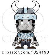 Clipart Of A Cartoon Happy Gorilla Viking Royalty Free Vector Illustration by Cory Thoman