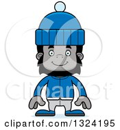 Clipart Of A Cartoon Happy Gorilla In Winter Clothes Royalty Free Vector Illustration by Cory Thoman