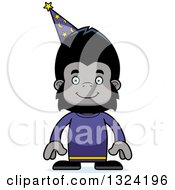 Clipart Of A Cartoon Happy Gorilla Wizard Royalty Free Vector Illustration by Cory Thoman