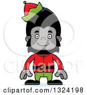 Clipart Of A Cartoon Happy Gorilla Christmas Elf Royalty Free Vector Illustration by Cory Thoman