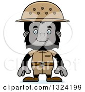 Clipart Of A Cartoon Happy Gorilla Zookeeper Royalty Free Vector Illustration by Cory Thoman