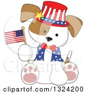 Cartoon Cute Patriotic Fourth Of July Puppy Dog Sitting And Holding An American Flag