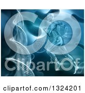 Clipart Of A 3d Blue Toned Medical Anatomical Man With Visible Muscles Running Over A Virus And Dna Background Royalty Free Illustration