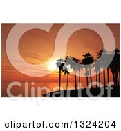 Clipart Of A 3d Silhouetted Tropical Island With Palm Trees Against An Orange Ocean Sunset Royalty Free Illustration