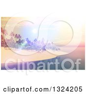 Clipart Of A 3d Tropical Island With A Pastel And Bright Sunset Royalty Free Illustration