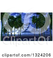 Clipart Of A 3d Palm Trees Against A Dusk Sky Royalty Free Illustration