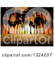 Clipart Of A 3d Table Or Deck Against Silhouetted Palm Trees And An Orange Sunset Royalty Free Illustration