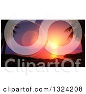 Clipart Of A 3d Ocean Sunset With Flares Over A Beach And Palm Trees Royalty Free Illustration