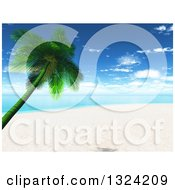 Clipart Of A 3d Tropical Beach With A Leaning Palm Tree Royalty Free Illustration