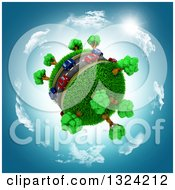 Clipart Of 3d Blue And Red Cars On A Roadway Around A Grassy Planet Against A Blue Sky With Clouds And Sun Royalty Free Illustration by KJ Pargeter