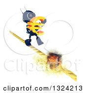 3d Blue Android Robot Carrying A Euro Symbol On A Burning Tight Rope