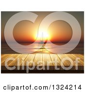 Clipart Of A 3d Table Or Deck Against A Silhouetted Sailboat Against An Orange Ocean Sunset Royalty Free Illustration