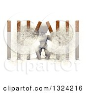 Clipart Of A 3d White Character Busting Through Cigarette Bars Royalty Free Illustration