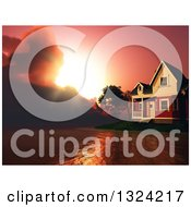 Clipart Of A 3d Lake Front House And Dramatic Red Sunset Royalty Free Illustration