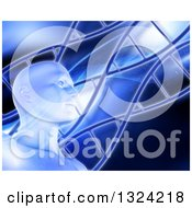 Clipart Of A 3d Virtual Mans Head And Diagonal DNA Strands Over Blue Royalty Free Illustration
