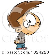 Clipart Of A Cartoon Brunette White Boy Looking Stunned Royalty Free Vector Illustration