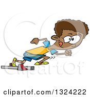 Clipart Of A Cartoon Black Track And Field Boy Taking Off In A Sprint Royalty Free Vector Illustration
