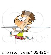 Clipart Of A Cartoon Brunette White Boy Running And Preparing To Throw A Javelin Royalty Free Vector Illustration