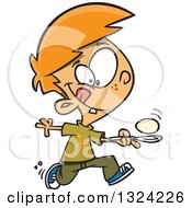 Clipart Of A Cartoon Red Haired White Boy Running In An Egg Race Royalty Free Vector Illustration