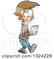 Cartoon White Boy Walking And Using A Tablet Computer
