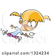 Clipart Of A Cartoon Blond White Girl Running In An Egg Race Royalty Free Vector Illustration