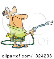 Clipart Of A Cartoon Happy Retired White Male Doctor Using A Hose Royalty Free Vector Illustration