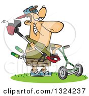 Cartoon Happy White Lawn Warrior Man Ready To Mow And Weed Whack