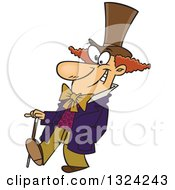 Clipart Of A Cartoon Happy Man Willy Wonka Walking With A Cane Royalty Free Vector Illustration by toonaday