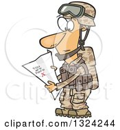Clipart Of A Cartoon White Male Army Soldier Reading A Map With X You Are Here Royalty Free Vector Illustration