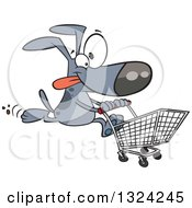 Clipart Of A Cartoon Gray Dog Running With A Shopping Cart Royalty Free Vector Illustration