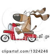 Cartoon Happy Brown Dog Riding A Scooter