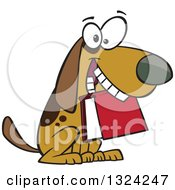 Clipart Of A Cartoon Brown Dog Sitting With A Book In His Mouth Royalty Free Vector Illustration