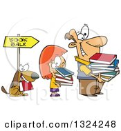 Clipart Of A Cartoon Happy Dog White Girl And Man Holding Books And Waiting In Line At A Sale Royalty Free Vector Illustration