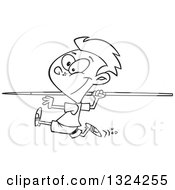 Lineart Clipart Of A Cartoon Black And White Boy Running And Preparing To Throw A Javelin Royalty Free Outline Vector Illustration by toonaday