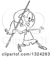 Lineart Clipart Of A Cartoon Black And White Track And Field Girl Throwing A Javelin Royalty Free Outline Vector Illustration by toonaday