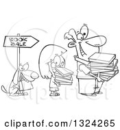 Lineart Clipart Of A Cartoon Black And White Happy Dog Girl And Man Holding Books And Waiting In Line At A Sale Royalty Free Outline Vector Illustration